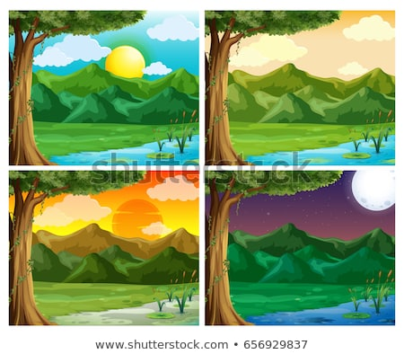 Four background scenes with fullmoon at night Stock photo © colematt