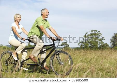 Pár lovaglás tandem vidék férfi boldog Stock fotó © monkey_business