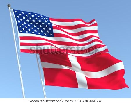 Dois bandeiras Estados Unidos Dinamarca isolado Foto stock © MikhailMishchenko