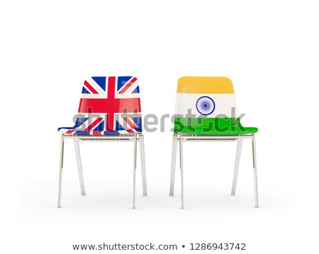 two chairs with flags of uk and india isolated on white stock photo © mikhailmishchenko