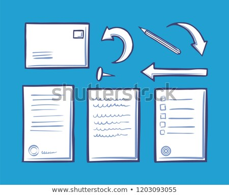 office document and pin for fixation set vector stock photo © robuart