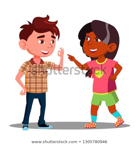 Menina menino dedos nomeação vetor isolado Foto stock © pikepicture