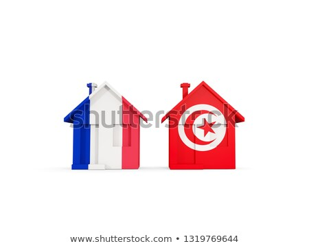 Two houses with flags of France and tunisia Stock photo © MikhailMishchenko