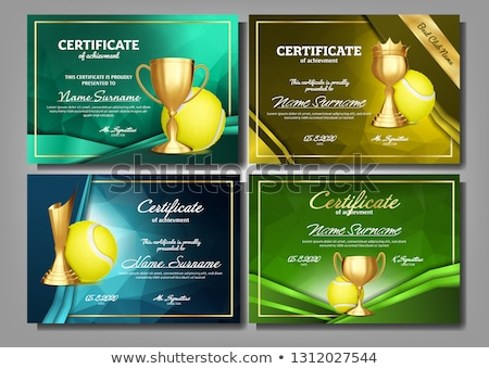 Tennis Game Certificate Diploma With Golden Cup Set Vector. Sport Award Template. Achievement Design Stock photo © pikepicture
