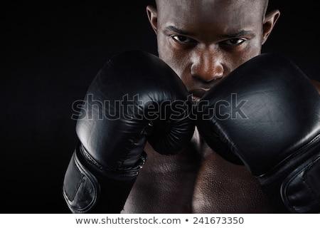 Közelkép fiatal sportoló boxkesztyűk kép áll Stock fotó © deandrobot
