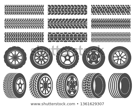 Tire Car Service, Rubber Wheels with Traces Print Stock photo © robuart