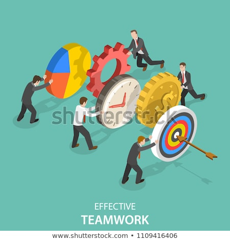 flat isometric vector concept of team success effective teamwork stock photo © tarikvision