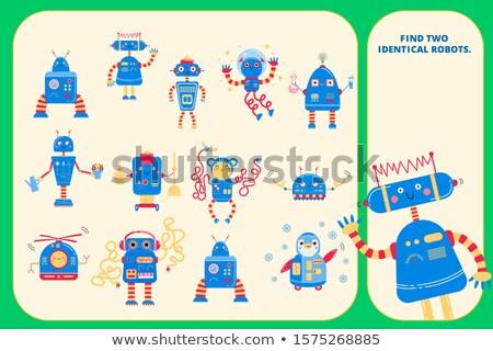 bulmak · iki · aynı · robotlar · oyun · çocuklar - stok fotoğraf © izakowski