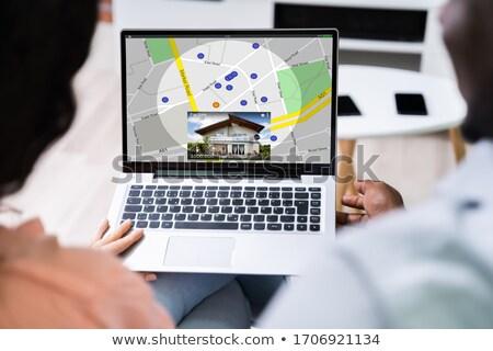 Pár GPS térkép laptop hátsó nézet navigáció Stock fotó © AndreyPopov