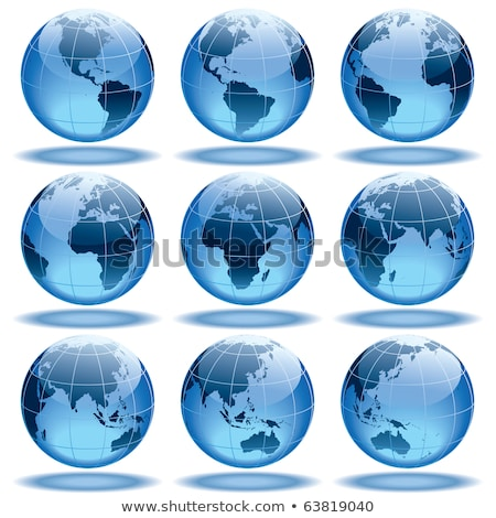 Ilustração azul terra conjunto ícone negócio Foto stock © Blue_daemon