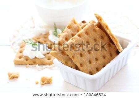 Gluten free crispbread with cream cheese and dill Stock photo © Melnyk