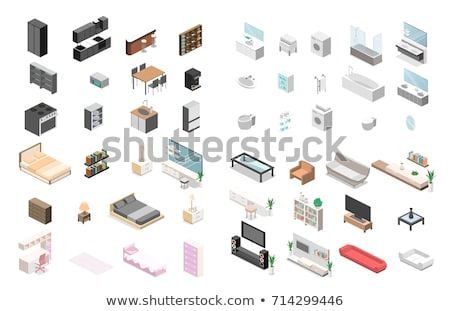 Office furniture and bathroom isometric 3D illustration set. Stock photo © RAStudio