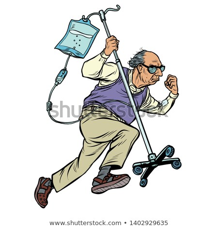cheerful old man runs with a dropper. age stereotype ageism Stock photo © studiostoks