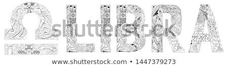 Libra zodiac sign cute retro zentangle stylized in vector for coloring Stock photo © Natalia_1947