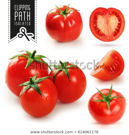 Geheel half tomaat illustratie vector ontwerp Stockfoto © netkov1