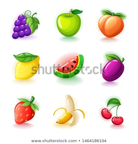 Set of colorful fruits - Glossy cherries, grapes, half-peeled banana, ripe strawberries, lemon, plum Stock photo © MarySan