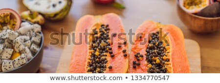 healthy eating background of different fruits on old wooden table banner long format stock photo © galitskaya