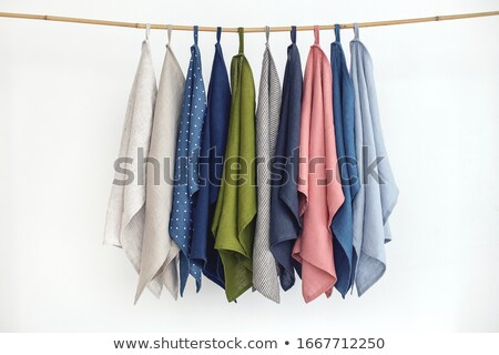 white towels hanging on rustic wooden ladder stock photo © dashapetrenko
