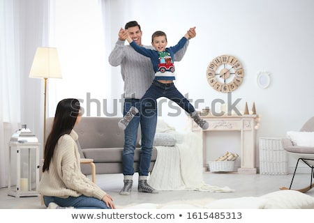 Mother and son having fun together in fall season Stock photo © Lopolo