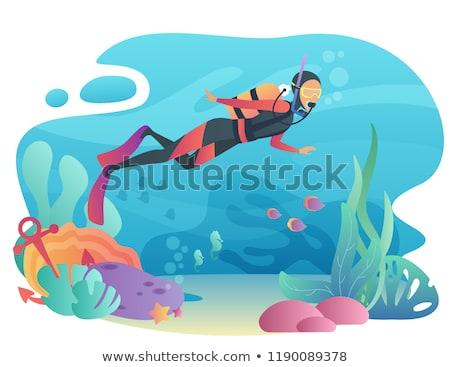Mélyvizi búvárkodás hobbi emberek snorkeling karakter vektor Stock fotó © robuart