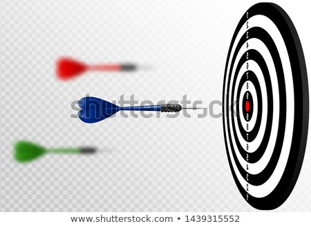 Vector blue dart arrows flying to target dartboard. Metaphor to target success, winner concept Stock photo © Iaroslava