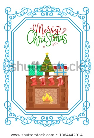 Fireplace with Metal Frame, Construction of Brick Stock photo © robuart