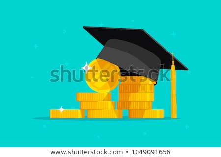 Graduation Hat With Stacked Of Coins Stock photo © AndreyPopov