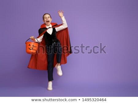 Stock fotó: Kicsi · drakula · kosár · boldog · halloween · aranyos
