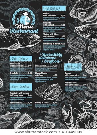魚 メニュー テンプレート ベクトル シーフード 料理 ストックフォト © robuart