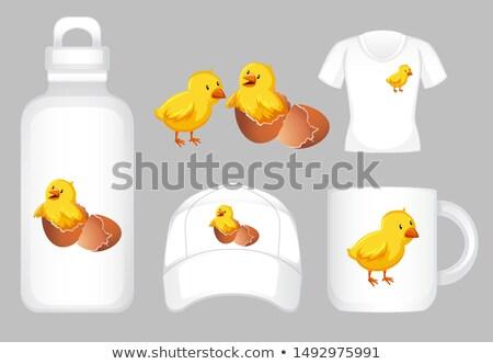 Grafisch ontwerp verschillend producten weinig kuikens illustratie Stockfoto © bluering