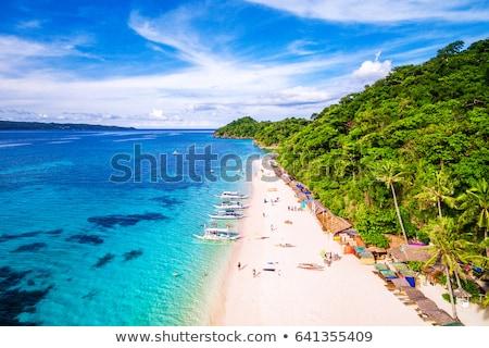 díszlet · tengerpart · Fülöp-szigetek · vakáció · égbolt · nap - stock fotó © galitskaya