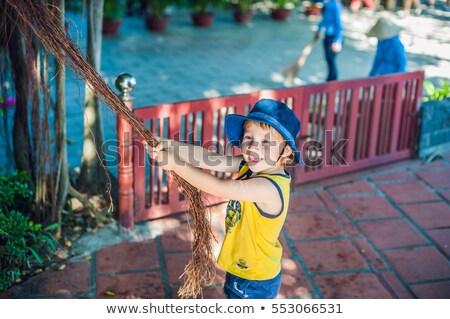 Fiú Vietnam utazó gyönyörű fa légi Stock fotó © galitskaya