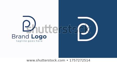 Linear geometric outline alphabet Letter D, Simple Logo Design, Blue graphic element for typography  Stock photo © kyryloff