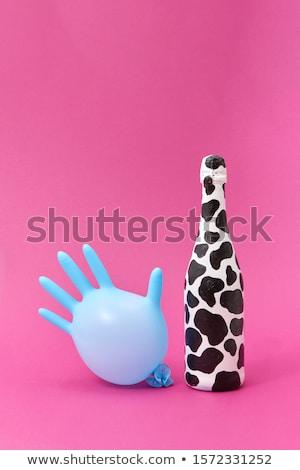 ストックフォト: ラテックス · 手袋 · バルーン · 描いた · 白 · ボトル