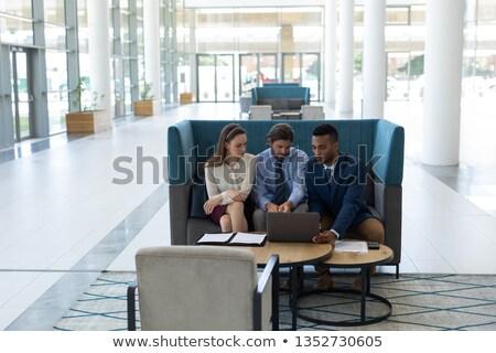 Elöl kilátás fiatal több nemzetiségű üzletemberek megbeszél Stock fotó © wavebreak_media