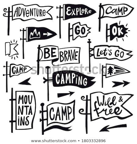 Vintage camp logos, mountain badges set. Hand drawn labels designs. Travel expedition, wanderlust an Stock photo © JeksonGraphics