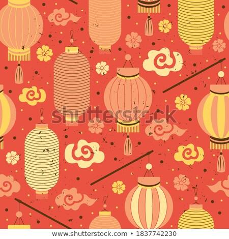 Elegante ano novo chinês flor lanterna árvore festa Foto stock © SArts