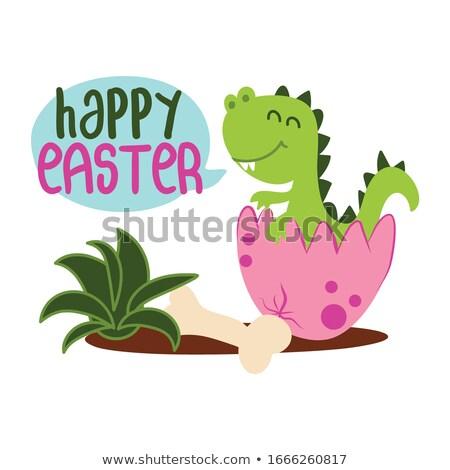 Vrolijk pasen cute gezegde grappig schoonschrift voorjaar Stockfoto © Zsuskaa