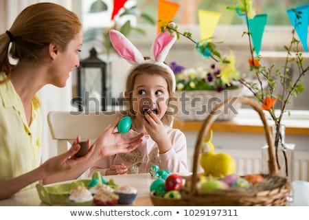 Cute Schokolade Ei lustiges Gesicht Illustration funny Stock foto © adrenalina
