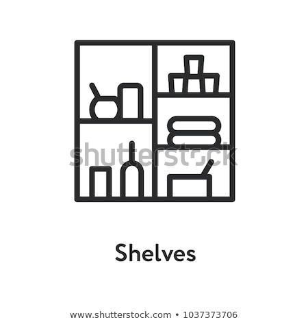 bookshelf icon vector outline illustration Stock photo © pikepicture