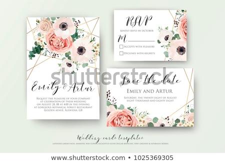 Güzel pembe çiçek düğün davetiyesi kart şablon düğün Stok fotoğraf © SArts
