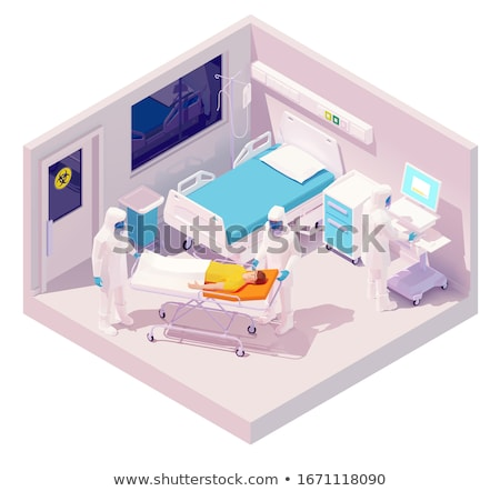 Vector isometric man hospitalization with coronavirus disease Stock photo © tele52