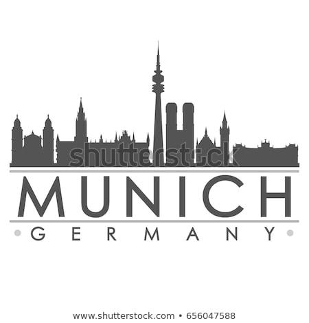 Munich blanco negro silueta simple turismo Foto stock © ShustrikS