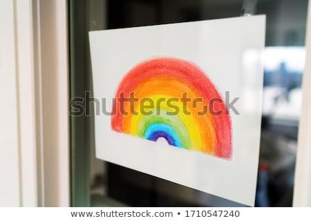 Arco-íris pintura desenho apoiar positividade enforcamento Foto stock © Maridav