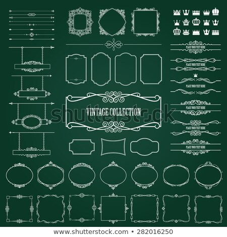 Mega collection of vector calligraphic design elements on chalkboard background Stock photo © blue-pen