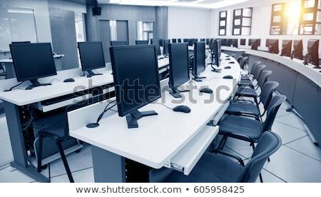Munkahely szoba számítógépek iroda billentyűzet hálózat Stock fotó © cozyta