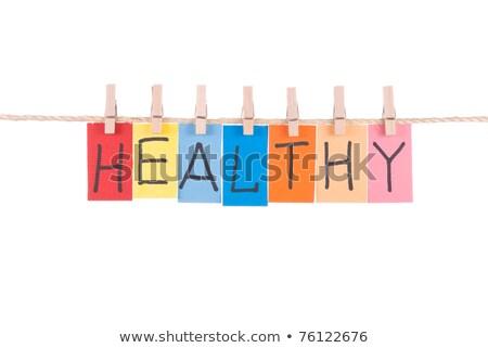 Egészséges szavak fából készült szeg papír kártya Stock fotó © Ansonstock