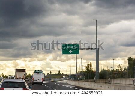 Włochy znak autostrady zielone Chmura ulicy podpisania Zdjęcia stock © kbuntu