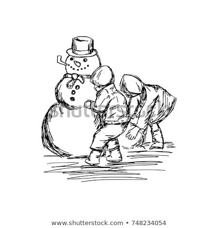 Bambini neve pupazzo di neve felice ragazzi arte Foto d'archivio © zurijeta