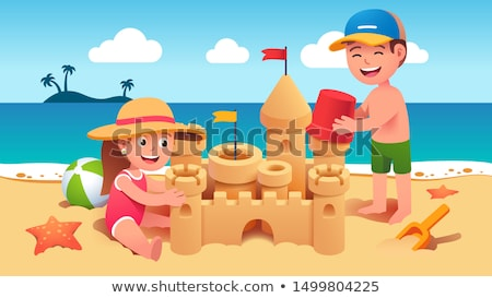 gelukkig · gezin · spelen · opblaasbare · bal · strand · familie - stockfoto © ia_64